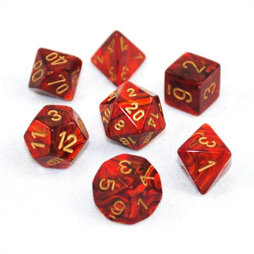 Poly 7 Set: Scarab Scarlet™/gold - Chessex 0