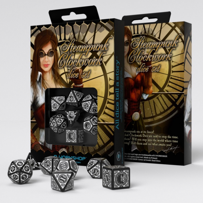 Steampunk Clockwork Black & White Dice Set - Q-Workshop  0