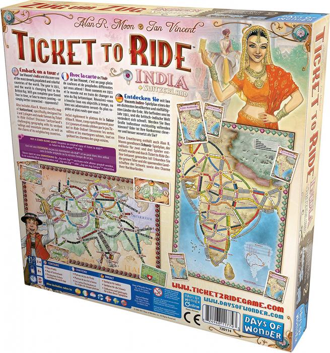 Ticket To Ride India + Switzerland: Map Collection (Extensie) - EN 1