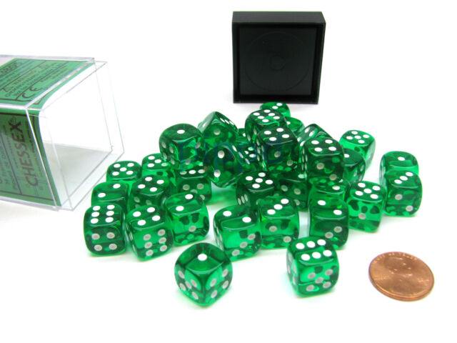 Translucent 12mm d6 with pips Dice Blocks (36 Dice) - Green w/white - Chessex 0