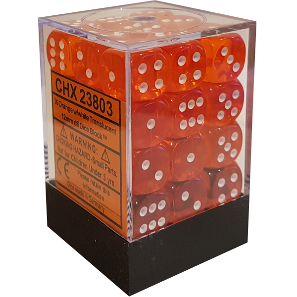 Translucent 12mm d6 with pips Dice Blocks (36 Dice) - Orange w/white - Chessex 0