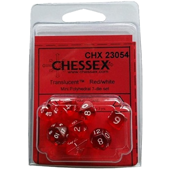 Translucent Polyhedral 7 MINI Dice Set - Red/White - Chessex 1