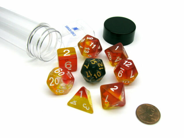 Yellow & Red Translucent Polyhedral Dice Set 0