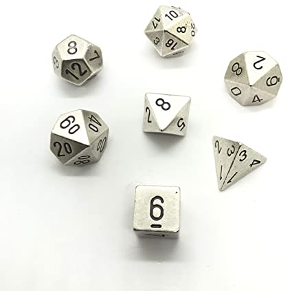 Specialty Dice Sets - Solid Metal Silver Colour Poly 7 die set - Chessex
