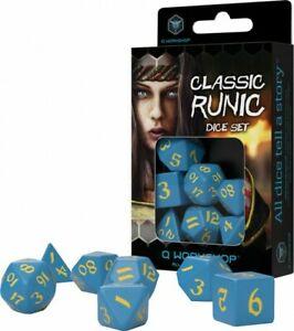 Classic Runic Blue & Yellow Dice Set (7 Dice)