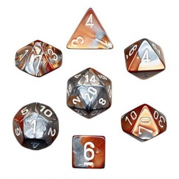 Gemini Poly 7 Set: Copper-Steel/White - Chessex