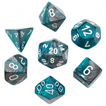 Gemini Poly 7 Set: Steel-Teal/White - Chessex0