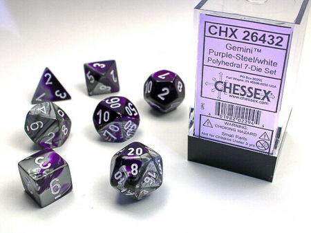 Gemini Polyhedral 7-Die Set - Purple-Steel w/white - Chessex0