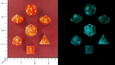 Ghostly Glow Orange/Yellow Poly 7 Set - Chessex1
