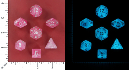 Ghostly Glow Pink/Silver Poly 7 Set - Chessex3
