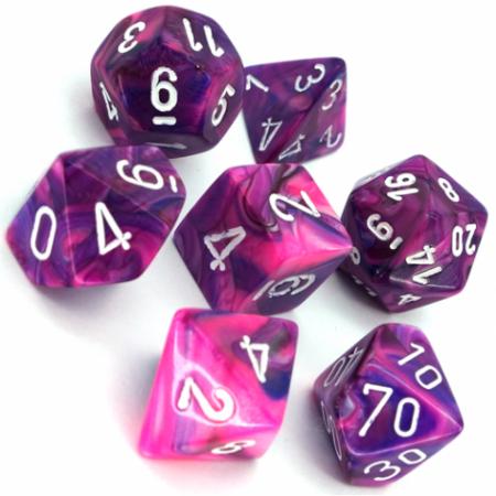 Poly 7 Set: Festive Violet w/white - Chessex1