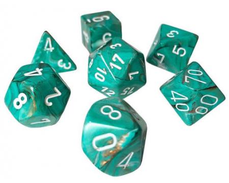 Poly 7 Set: Marble Oxi-Copper w/white - Chessex1