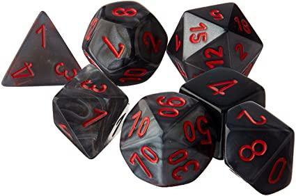 Poly 7 Set: Velvet Black/red - Chessex