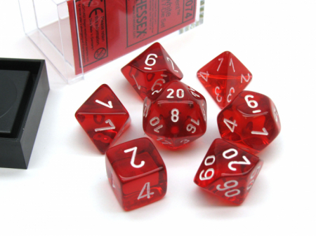 Red Translucent Polyhedral Red Dice & Case - Promo Pack [2]