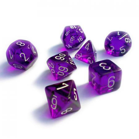 Translucent Polyhedral 7 MINI Dice Set - Purple/White - Chessex0
