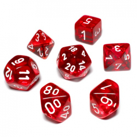 Translucent Polyhedral 7 MINI Dice Set - Red/White - Chessex0
