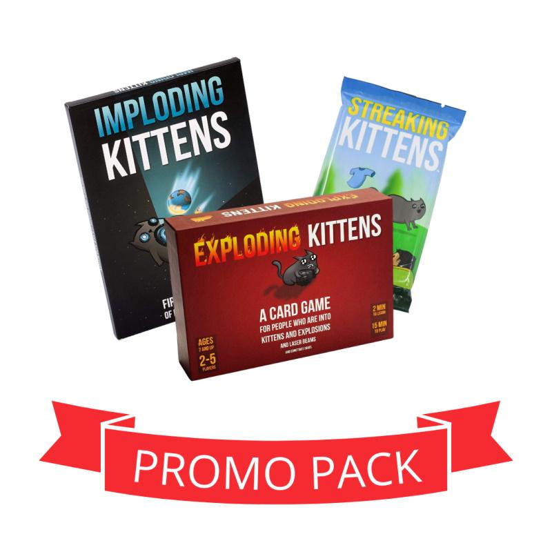 Exploding Kittens joc de baza + Imploding + Streaking - Promo Pack