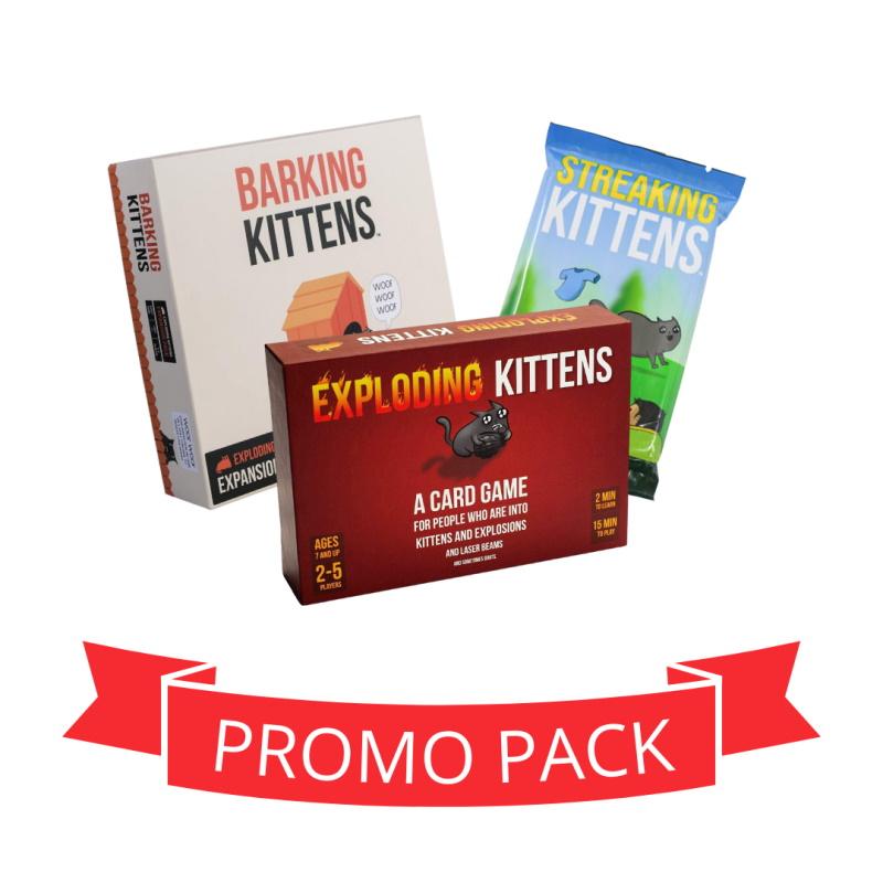 Exploding Kittens joc de baza + Streaking + Barking - Promo Pack