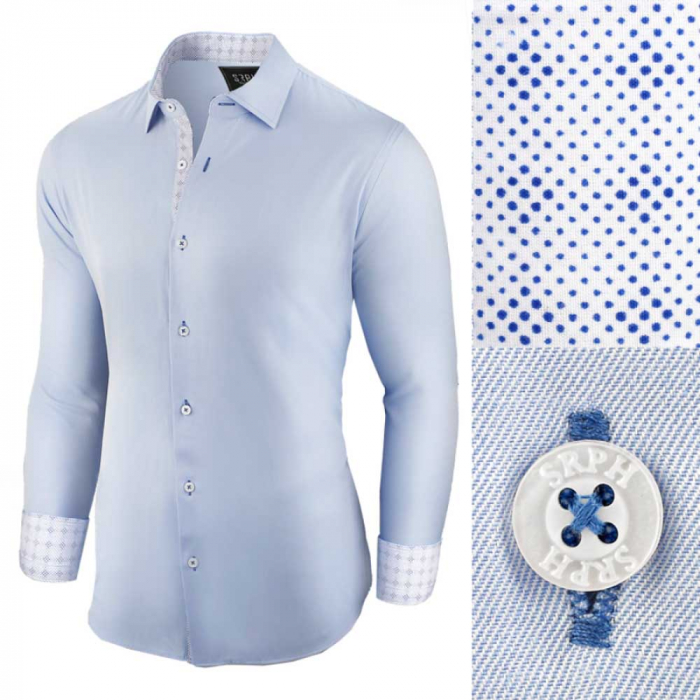 Camasa pentru barbati, casual, bleu, regular fit - Business Class Ultra 0