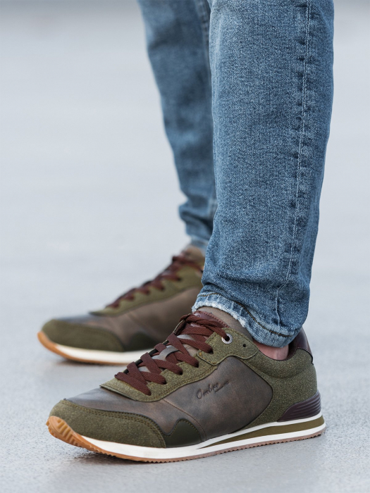 Sneakers casual barbati - T332 - khaki 1
