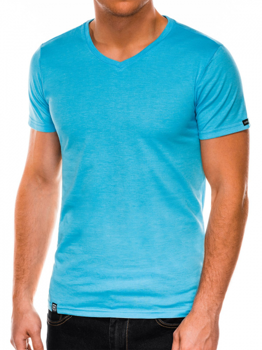 Tricou slim fit barbati S1041 - turcoaz 0