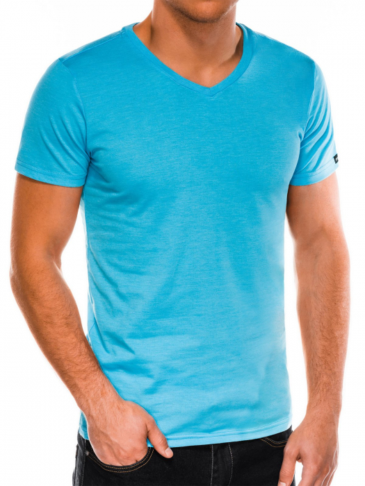 Tricou slim fit barbati S1041 - turcoaz 3