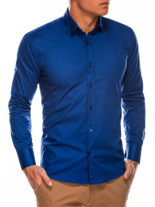 Camasa slim fit barbati K504 - bleumarin 2