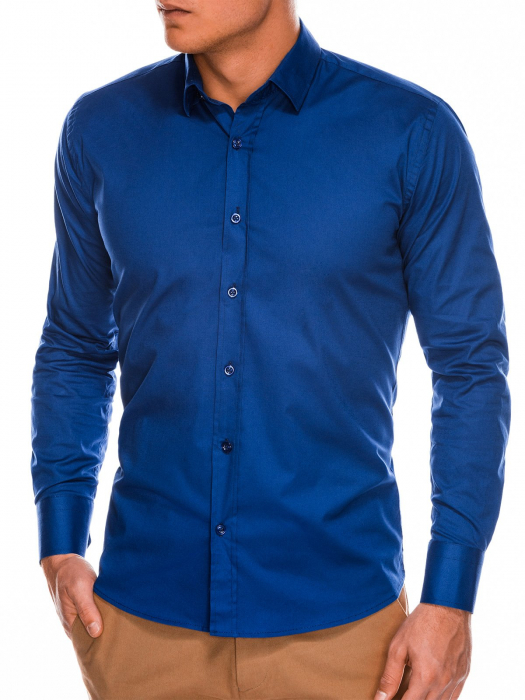 Camasa slim fit barbati K504 - bleumarin 0