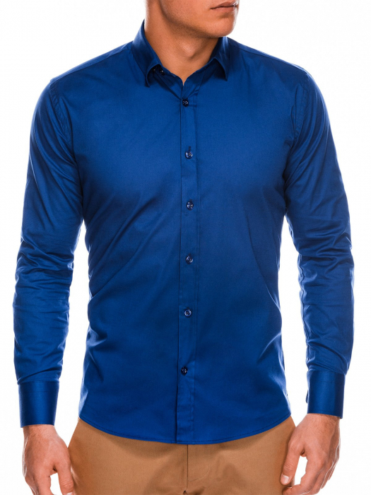 Camasa slim fit barbati K504 - bleumarin 3
