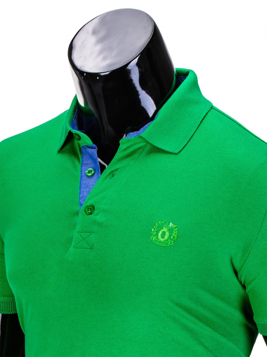 Tricou barbati polo, verde simplu, slim fit, casual - S837 2