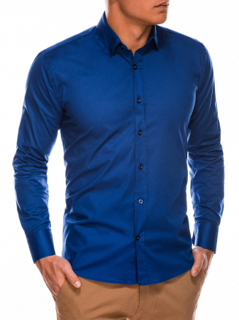 Camasa slim fit barbati K504 - bleumarin2