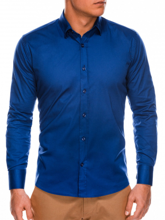 Camasa slim fit barbati K504 - bleumarin3