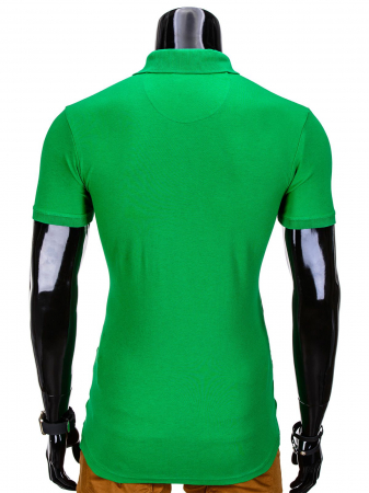 Tricou barbati polo, verde simplu, slim fit, casual - S8371
