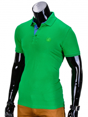 Tricou barbati polo, verde simplu, slim fit, casual - S8373