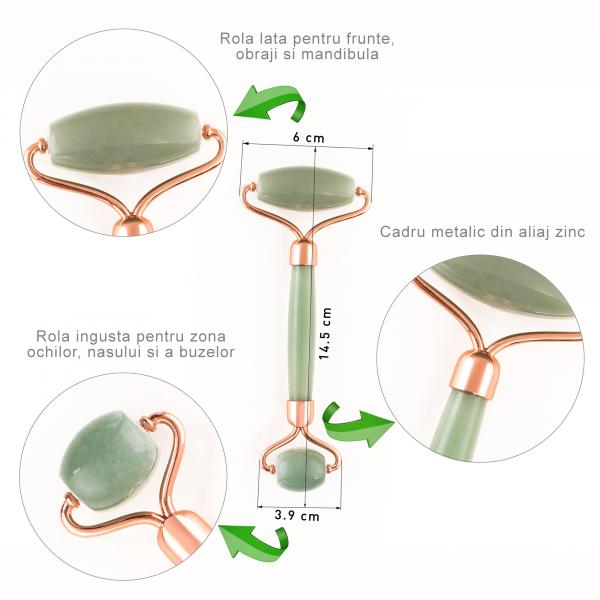 Jade Roller - rola de jad pentru ingrijirea tenului cu insertii din silicon pentru o miscare fina si fara zgomot 4