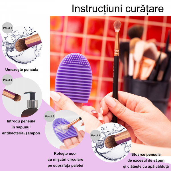 Paleta curatare pensule Egg din silicon (purple) 3