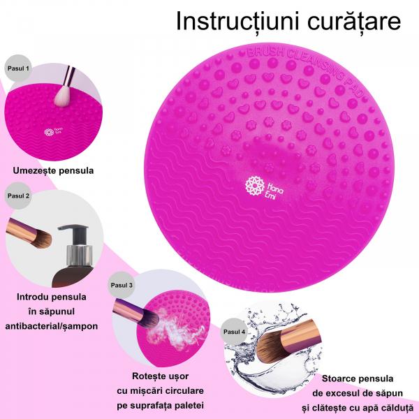 Paleta curatare pensule rotunda din silicon (fuchsia) 3