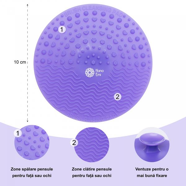 Paleta curatare pensule rotunda din silicon (purple) 2