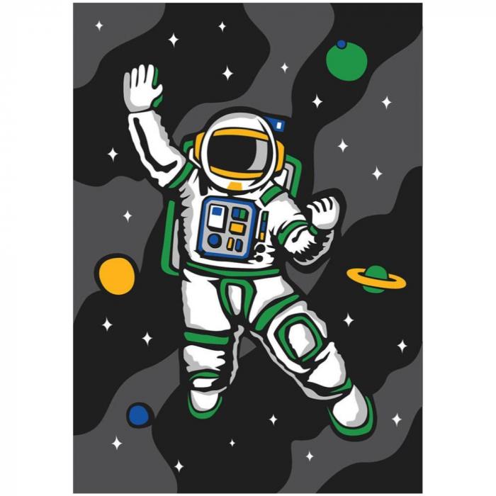 Cosmonaut, Set creativ, pictura cu nisip colorat, 1 plansa 23,5 x 33 cm, 22 tuburi nisip multicolor, 1 penseta, 1 folie protectie, pentru 10 – 99 ani 2