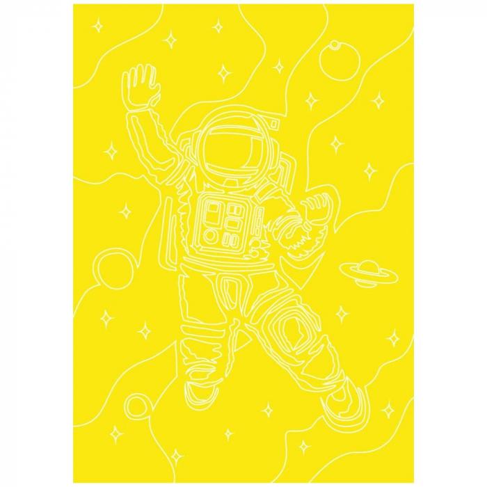 Cosmonaut, Set creativ, pictura cu nisip colorat, 1 plansa 23,5 x 33 cm, 22 tuburi nisip multicolor, 1 penseta, 1 folie protectie, pentru 10 – 99 ani 3