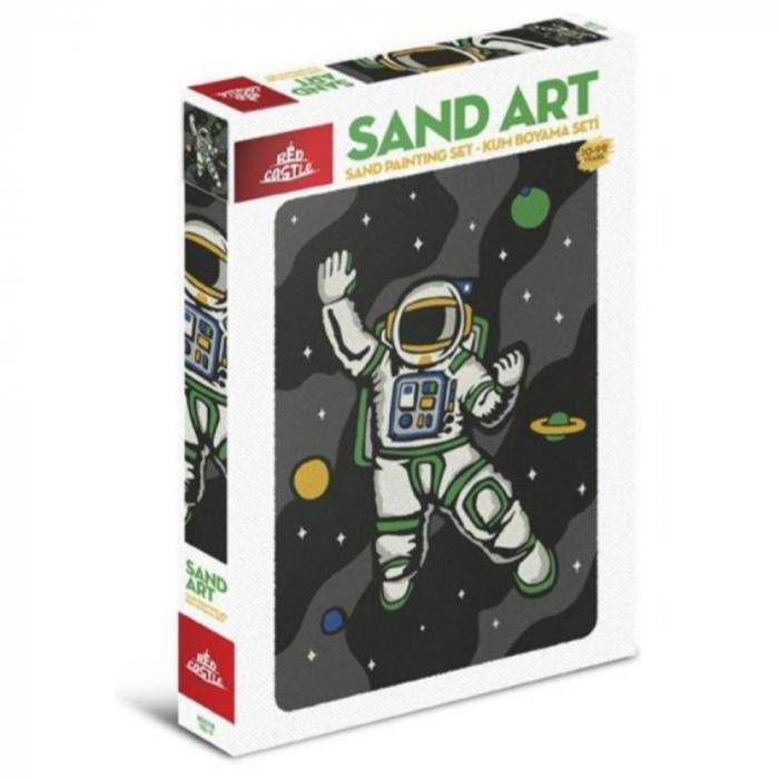 Cosmonaut, Set creativ, pictura cu nisip colorat, 1 plansa 23,5 x 33 cm, 22 tuburi nisip multicolor, 1 penseta, 1 folie protectie, pentru 10 – 99 ani 0