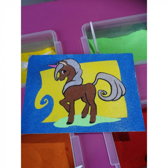 Pictura cu nisip colorat Unicorn 3