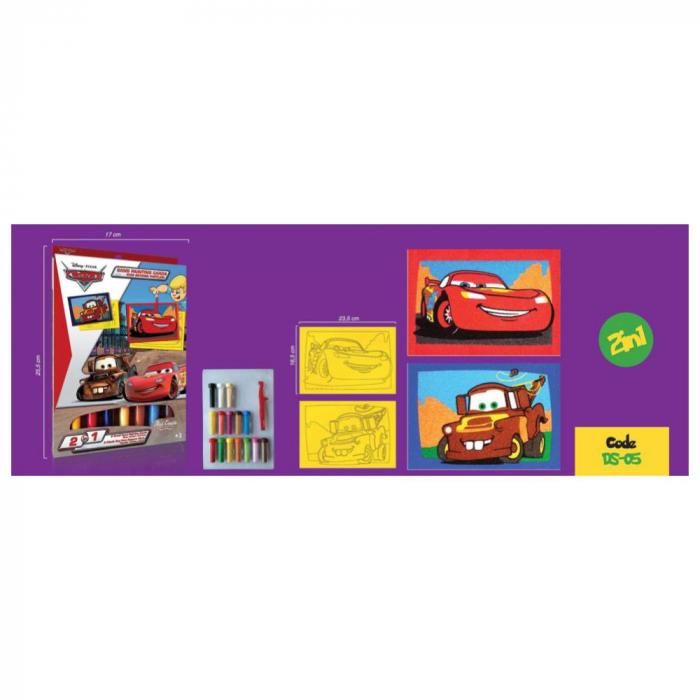 Pictura cu nisip colorat Cars - Fulger McQueen & Bucsa 2