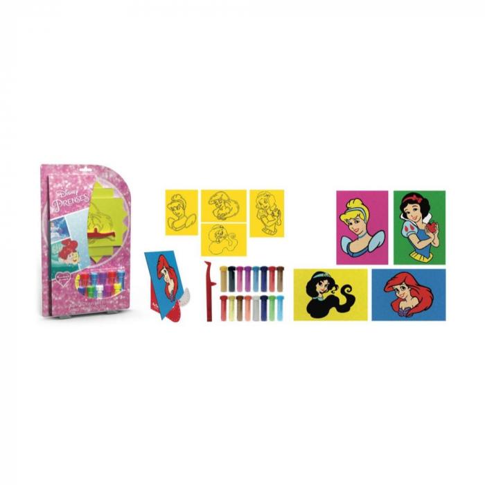 Pictura cu nisip colorat Printese Disney – Ariel, Cenusareasa, Alba ca Zapada, Jasmine 1