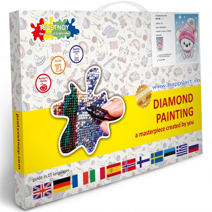 Set Goblen cu diamante, cu sasiu, Soricel, 20x30 cm, 23 culori [3]
