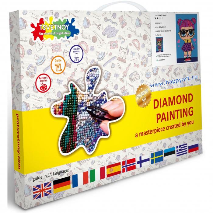 Set Goblen cu diamante, cu sasiu, Best Friend, 20x30 cm, 9 culori [2]