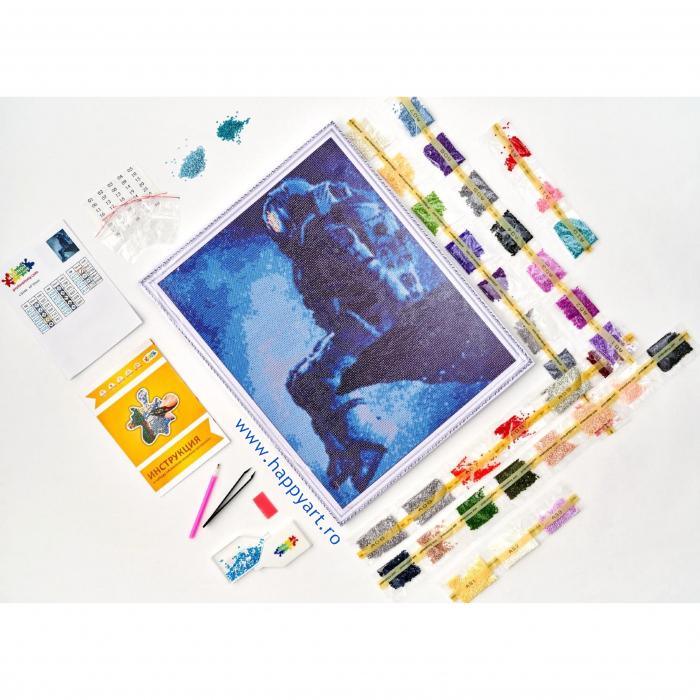 Set Goblen cu diamante, cu sasiu, Astronaut, 40x50 cm, 14 culori [4]