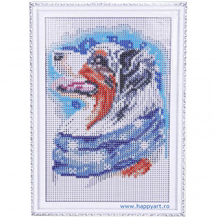Set Goblen cu diamante, cu sasiu, Caine de Iarna, 20x30 cm, 19 culori [1]