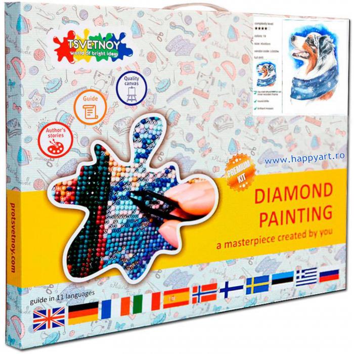 Set Goblen cu diamante, cu sasiu, Caine de Iarna, 20x30 cm, 19 culori [3]