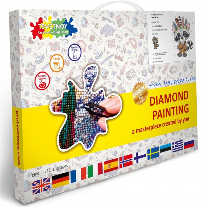 Set Goblen cu diamante, cu sasiu, Ratonul Indian, 20x30 cm, 25 culori [2]